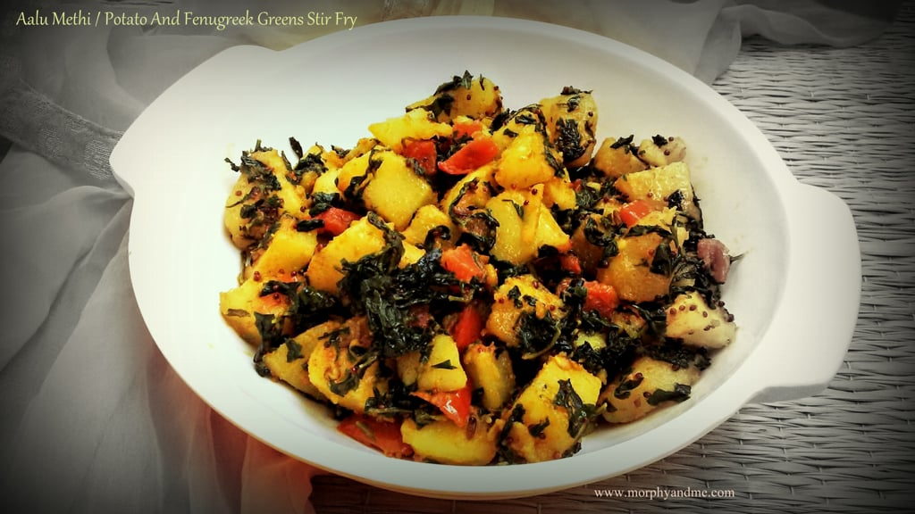 Aalu Methi / Potato and Fenugreek Greens Stir Fry