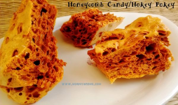 Crunchy candy with just three ingredients! Crunchy Hokey Pokey Honeycomb candy dipped in melted dark chocolate makes a perfect treat.