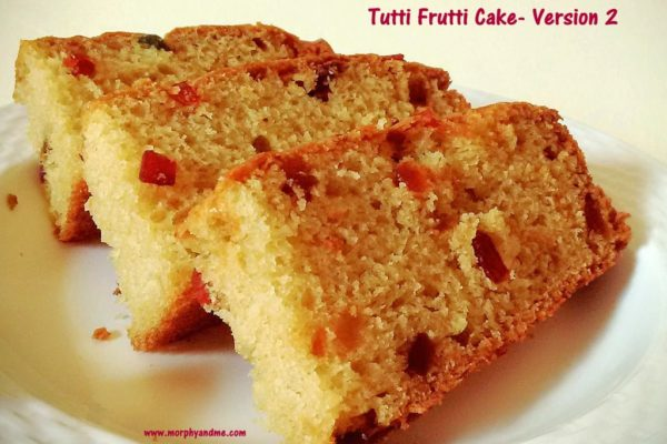 A simple and tasty eggfree tutti frutti cake. For those of you who like 'tasty cakes' with no frills attached, this one totally fits the bill.