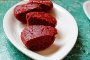 A moist eggfree red velvet cake. What makes this special- The fact that it is a whole wheat cake and has no synthetic colours