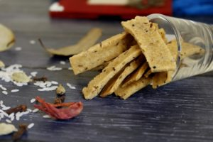Crunchy rice crackers flavoured with traditional Indian spices and condiments. Biryani crackers are an excellent gluten free snack option.