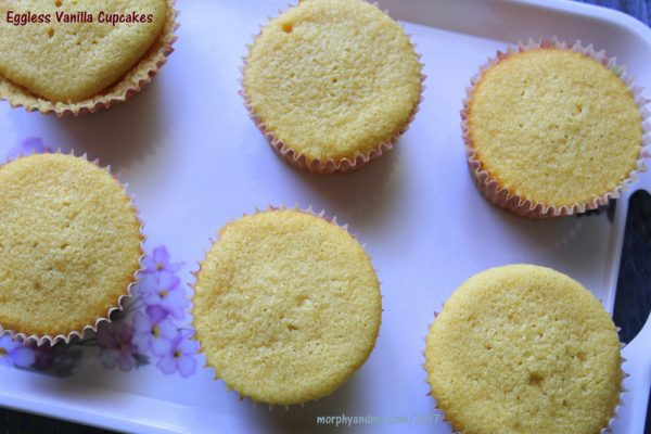 Utterly butterly delicious eggless vanilla cupcakes. These light and spongy cupcakes are super easy to bake too and get done in less than 30 minutes