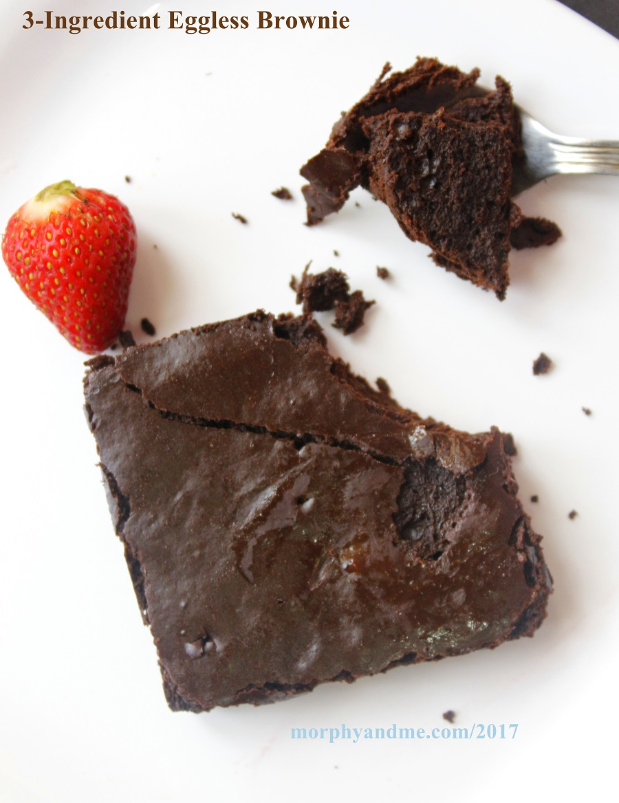 These eggless brownies are made with just three basic ingredients. A yummy fudgy chocolaty treat that is super easy to bake.