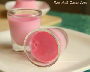 Creamy dreamy rose milk panna cotta. This dessert is eggfree and vegetarian too. Flavoured with rose syrup, it is as tasty as it looks.