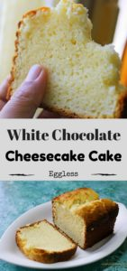Baked white chocolate cheesecake cake . An eggless white chocolate cake with cream cheese. This is quite a rich and flavourful cake