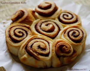 Sweet and aromatic eggless cinnamon rolls. These pillow soft rolls are super easy to make and make a wonderful tea time snack.