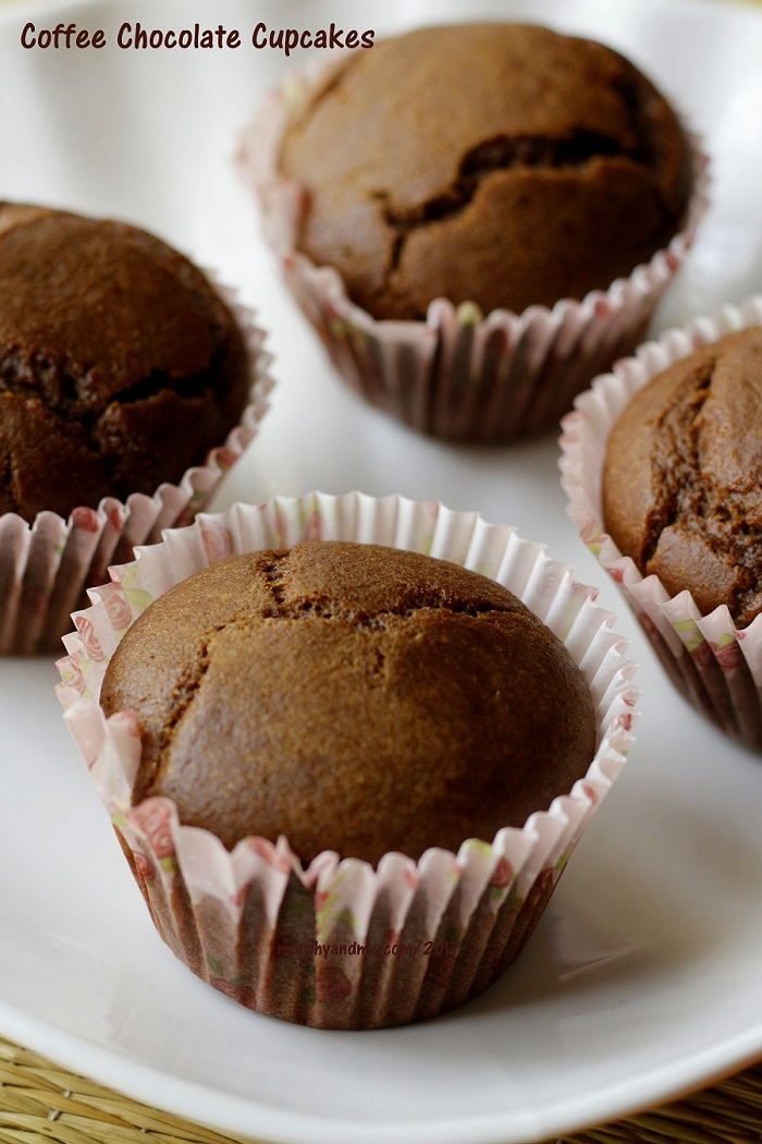 Eggless and wholewheat coffee chocolate cupcakes -Moist, chocolaty and with that coffee kick, perfect for every filter coffee fan.