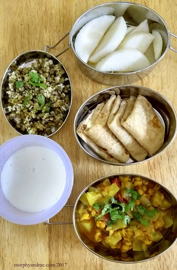 lunchbox ideas- day 1: fruits and green moong sundal for snack break. Chappati's , bottlegourd-lentil sabzi , buttermilk for lunch