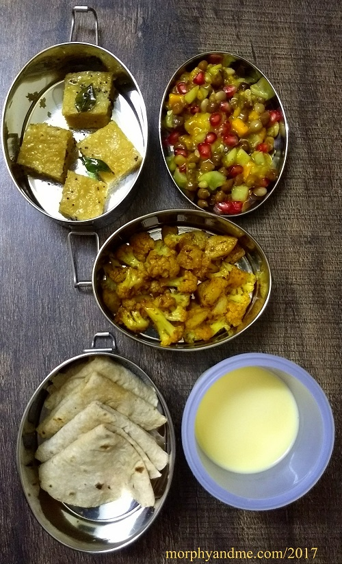 lunchbox ideas 10- Khaman Dhokla, Sprouts salad with mango dressing for short break. Aalu-gobi sabzi with phulka and lassi for lunch