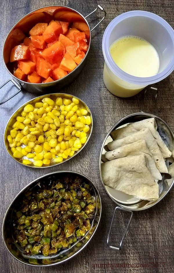 Lunchbox ideas- today it is papaya and boiled corn for snack break. For lunch bhindi sabzi and soft phulkas with mango lassi.