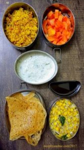 Lunchbox ideas 9- Instant rava dosa with jaggery syrup , sweetcorn sundal for snack break; Tomato rice, cucumber raita and papaya for lunch.