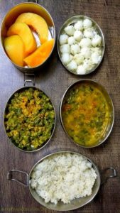 Lunchbox Ideas 18 : Short Break : Undu Urali Kozhukattai / Kara Kozhukattai , Musk melon Lunch: Rice with Methi Sambar, Parappu Usli