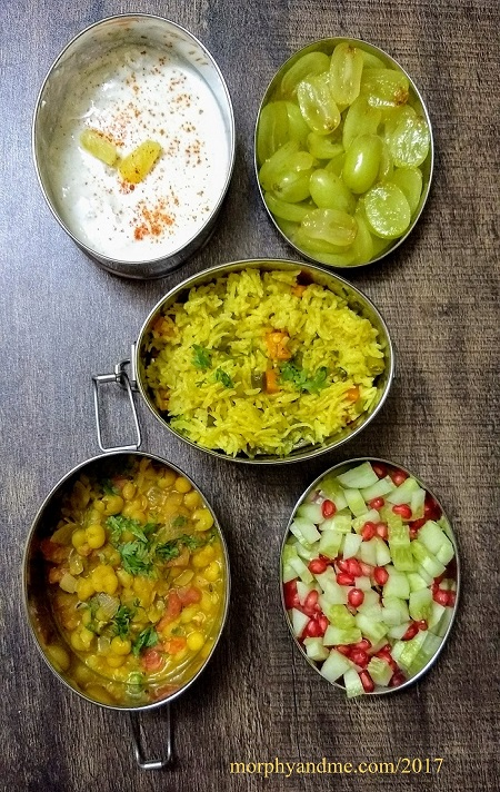 Lunchbox Ideas 14: Short Break- Ghugni with chopped cucumber and pomegranate arils.Lunch- Vegetable Pulao , Pineapple Raita, Grapes
