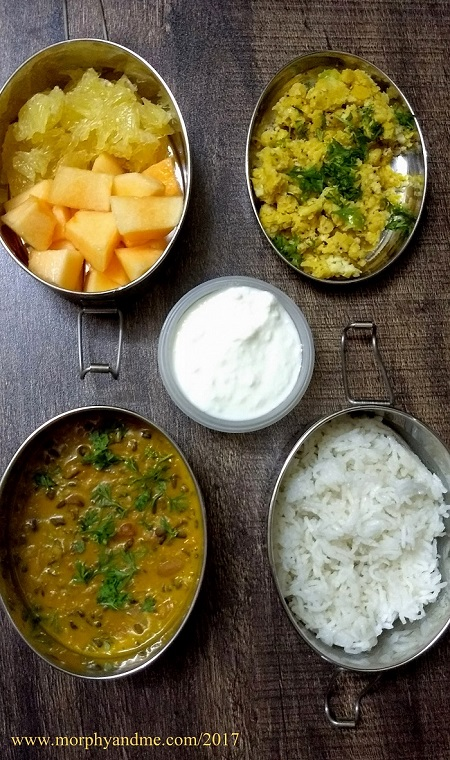 Lunchbox Ideas 15 includes for short Break- Channa Dal Sundal, Fruits [Musk melonn musambi] Lunch- Dal Makhani, Rice and Curd