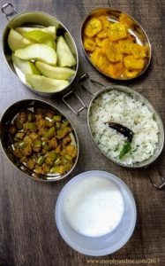 Lunchbox Ideas 16 Short Break- Vazhakai Varaval, Pear Lunch : Coconut Rice, Podi Pota Kathrikai [Brinjal stir fry with curry powder], Buttermilk