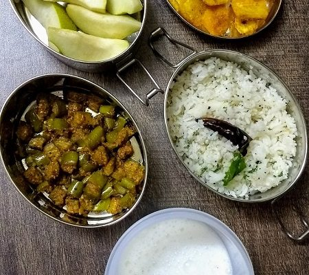 Lunchbox Ideas 16: Vazhakai Varaval, Coconut Rice And More