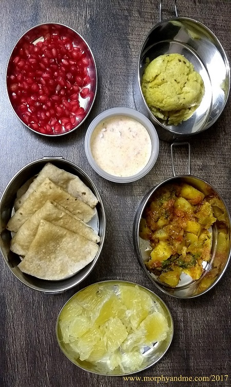 Lunchbox Ideas 17:Short Break: Millet Pongal , Tomato Pachadi, Pomegranate Arils Lunch : Phulka with Aalu-Karele Ki Sabzi, Mosambi