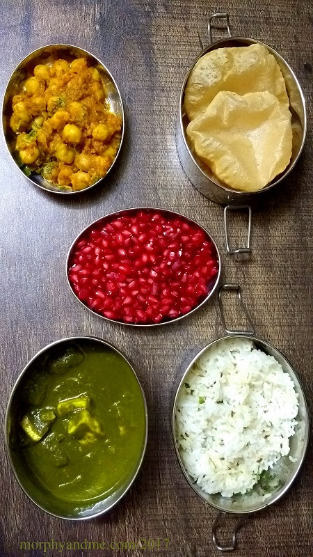 Lunchbox Idea 24: Choley Puri, Palak Paneer