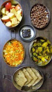 Lunchbox idea 21 Short Break : Diced Apple, Salted boiled peanuts, Buckwheat and Jaggery Burfi Lunch :Aalu Methi Sabzi, Phulka, Kosambari