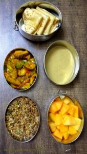 Lunchbox Idea 23:Short Break : Sprouted Horsegram Sundal, Diced Muskmelon Lunch : Brinjal Capsicum Sabzi, Phulka and Amaranth Jaggery Payasam/ Kheer