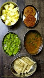 Lunchbox ideas 19-Short Break : Oats and Amaranth Idly with Flaxseed Chutney Powder, Diced Apple. Lunch : Horsegram Dal, Phulka and Snake gourd Stir-fry